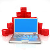 Red cubic diagram structure and laptop — Stock Photo