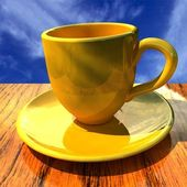 Cup on a wooden table — Stock Photo
