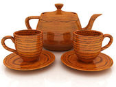 Wood teapot and cups — Stock Photo