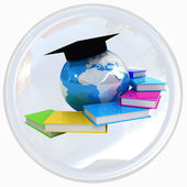 Education shiny white button — Stock Photo
