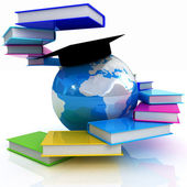 Global Education with colorful real books — Stock Photo