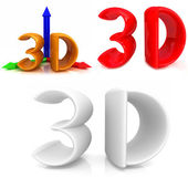 3d icons of 3d on a white background — Stock Photo