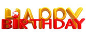 """""""Happy Birthday""""3d colorful text with earth — Stock Photo"""