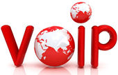 Red word VoIP with 3D globe — Stock Photo