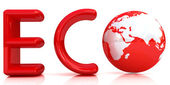 Red word Eco with 3D globe — Stock Photo