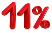 3d red eleven percent on a white background — Stock Photo