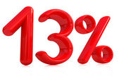 3d red thirteen percent on a white background — Stock Photo