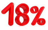 3d red eighteen percent on a white background — Stock Photo
