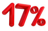 3d rot siebzehn Prozent auf weißem Hintergrund — Stockfoto
