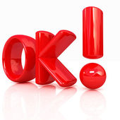 "3d redl text ""OK"" — Stock Photo"