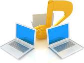 Dizüstü bilgisayarlar ve not — Stok fotoğraf