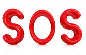 "3d red text ""sos"" — Stockfoto"