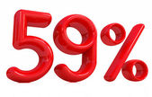 3d red 59 percent on a white background — Stock Photo