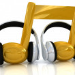 Headphones and 3d note - Lizenzfreies Foto