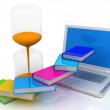 Stock Photo: Book hourglass and laptop