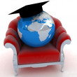 Earth on a chair — Stock Photo