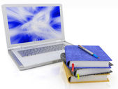 Laptop and notebooks — Stock Photo