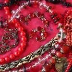 Red background - jewerly — Stock Photo