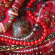 Red background - jewerly — Stock Photo