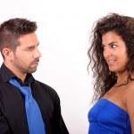 Woman and man flirting — Stock Photo