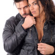 Woman and man embraced — Stock Photo