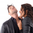 Woman trying to bite a man neck — Stock Photo
