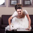 Young bride and shoes — Stock Photo