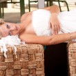 Young bride layed — Stock Photo