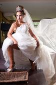 Bride with big veil — Stock Photo