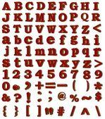 3d rastrové abeceda, číslice, znaky — Stock fotografie