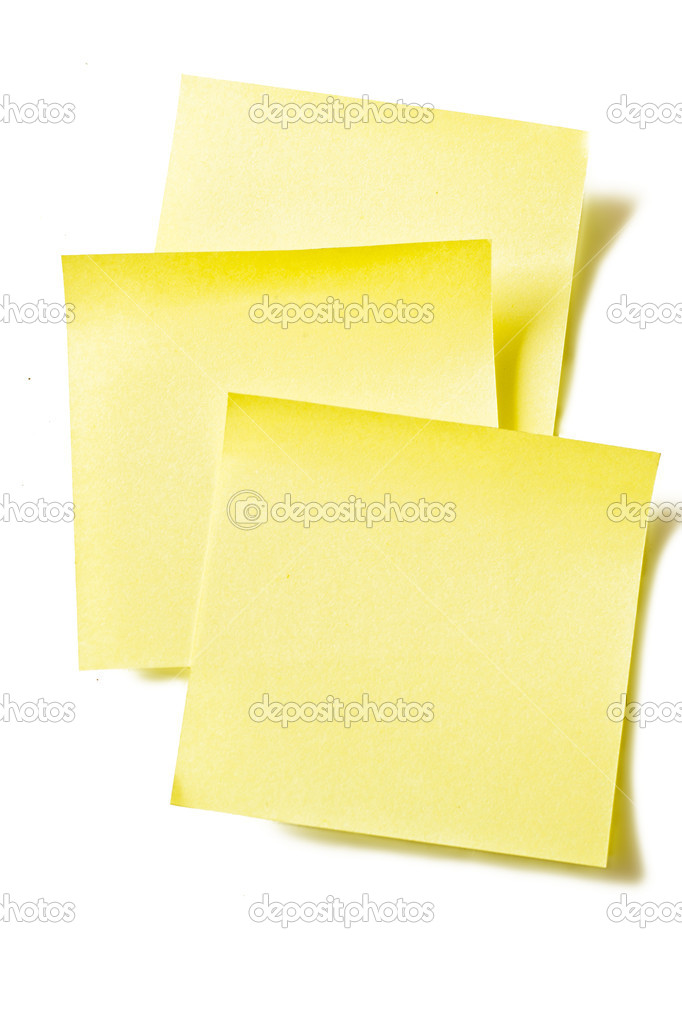 Yellow stikers  note isolated on white background — Stock Photo #7977290
