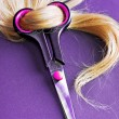Blond Hair with scissors — Stock Photo #8026408