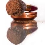 Powder brush with powder — Stock Photo