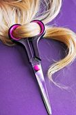 Blond Hair with scissors — Stock Photo