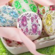 Decorated easter eggs in the grass — Stock Photo