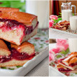 Stock Photo: Cakes with jam and milk
