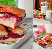 Cakes with jam and milk — Stock Photo
