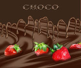 Strawberry in chocolate — Stock Photo