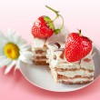 Stock Photo: Strawberry cake with cream