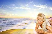 Happy Woman on a Beach — Stock Photo