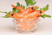 Fresh shrimps in a glass bowl — Stock Photo