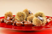 Sweet chestnuts on a red plate — Stock Photo
