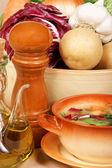 Homemade typical italian minestrone — Stock Photo