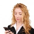 Businesswoman text messaging on mobile — Stock Photo