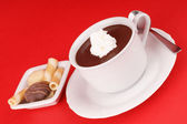 Cup of hot chocolate with whipped cream and cookies — Stock Photo