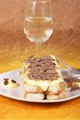 Tiramisù cake with grated chocolate — Stock Photo