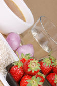 Risotto with strawberries ingredients — Stock Photo