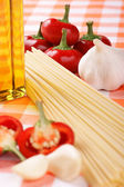Italian spaghetti ingredients — Stock Photo