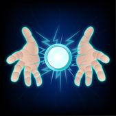 Hands with lighting — Stock Vector