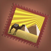 Postmark with pyramids — Stock Vector